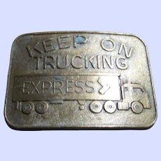 Vintage Keep on Trucking Metalware Brass Plate Belt Buckle 18 Wheeler Cab Over