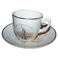 Lovely Small Travel Souvenir Demi-Tasse Cup Saucer Statue of Liberty New York City