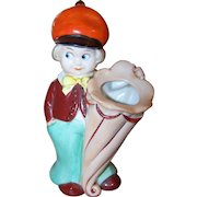 A Charming Vintage Googly Eyed Hand Painted Ceramic Figural  Tooth Brush Holder