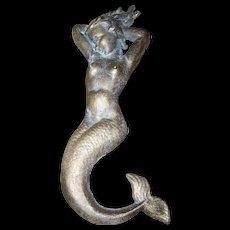 Cast  Metalware Risque Nude Mermaid Sculpture Plaque Brass Bronze  Finish Unique
