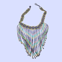 Pretty Colorful Glass Seed Bead Fringed Choker Necklace