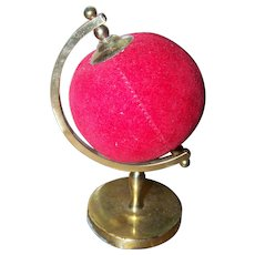 Sweet Vintage Figural Globe Style Pin Cushion Sewing Accessory