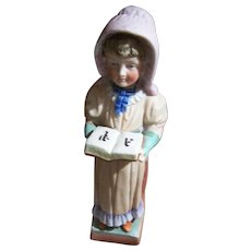 Vintage Hand Painted Bisque Lady in Bonnet With Book Match Holder Striker