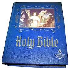 Masonic Large  Pictorial Holy Bible King James Version Red Letter Edition 1971