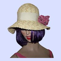Pretty Vintage Ladies Straw Hat with Grosgrain Ribbon and Flower Decoration