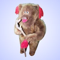 A Collectible  Quirky Folk ART Wood Framed Standing Plush  Teddy Bear
