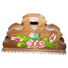 Sweet Hand Painted Wooden Wood Letter Holder Floral Theme Home Decor Accent