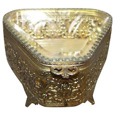 Decorative  Open Work Metal Ware Jewelry Casket Ormolu Style with Beveled Glass Top C. 1950's