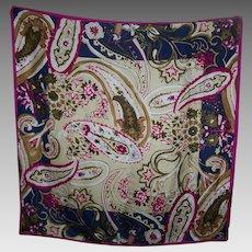 Lovely Quality Designer Signed OSCAR Floral Print Silk Scarf