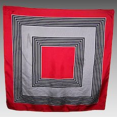 Geometric Op Art Illusion Fashion Print Scarf Designer daniel la foret Red White Black