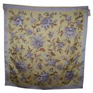 Pretty Vintage Sunny Yellow Glentex Flower Pattern Ladies Fashion Scarf