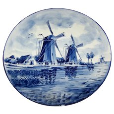 Vintage Delft - Blauw Wind Mill Canal Scene Charger Plate 12 Inches