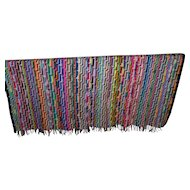 Bright Cheerful and Colorful Vintage Knit Crochet Large Blanket Bed Spread with Fringes