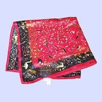 What A Pretty Small 100 % Silk Ladies Fashion Scarf Bird Theme Pattern