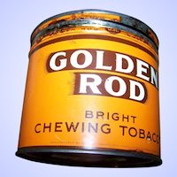 Vintage Adverting Tin Can Golden Rod Bright Chewing Tobacco
