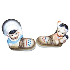 Collectible Native American Indian Lady Man in Moccasins Salt  Pepper Shakers