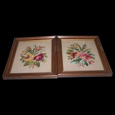Two Lovely Vintage Framed Needle Point Floral Themed Wall Art