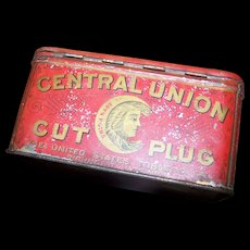 Vintage Advertising Tin Litho Box Central Union Cut Plug  Smoke & Chew Tobacco