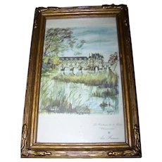 Vintage Framed Advertising Print Air France Les Chateau de la Loire Chenoceaux