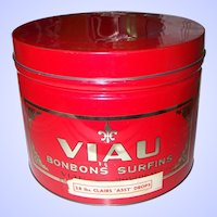Large Vintage Red Advertising Tin Litho Metalware Can VIAU Bonbons Montreal Canada