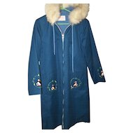 Long Coat Parka Grenfell Handicrafts Fox Fur Collar Canadian Made in Canada