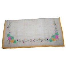 Vintage Linen Napkin Holder - Hand Embroidered with Applied Fruit Leaf Decoration -Embroidered Porte Serviette