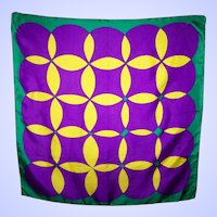 Unique Designer Signed Jan C Op Art Silk Fashion Scarf Hand Rolled