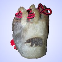 A Vintage Tourist Trade Native Aboriginal Inuit Fur Drawstring Bag Purse Pouch AS IS