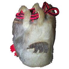A Vintage Tourist Trade Native Aboriginal Inuit Fur Drawstring Bag Purse Pouch