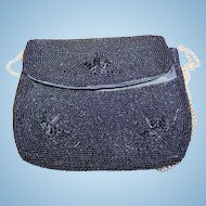 A  Charming  Small Black Glass Bead Purse Tag Stating Made in Japan