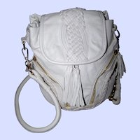 Bone Colored  Vegan Faux Leather Purse with Fringes and Detachable Metal Chain Strap by Street Level