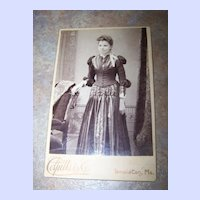 Cabinet Card Photograph  Featuring Lovely Lady  Colpitts & Co Lewiston Me.