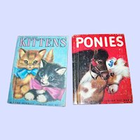 2 Charming Rand McNally Junior ELf Books Ponies and Kittens