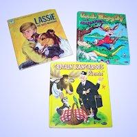 Lot of 3 Vintage Children's Books Uncle Wigley Lassie Captain Kangaroo