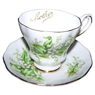 Pretty Vintage Tea Cup Saucer Set Lily  of the Valley MOTHER Royal Grafton