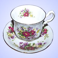 Pretty Tea Cup Saucer Set Paragon Flower Festival Mixed Floral Theme
