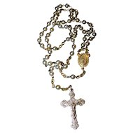 Vintage Delicate Faux Pearl Creed Co Rosary  Prayer Beads