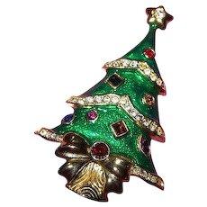 Enamel Rhinestone Christmas Tree Brooch by Kenneth Jay Lane for The Franklin Mint