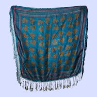 Lovely Floral Print Rayon  Silk Blend  Ladies Fashion Fringed Shawl  or  Home Decor Accent