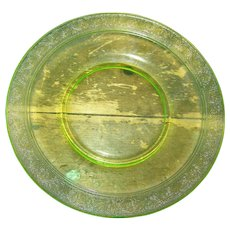 Small 7 Inch Decorative Yellow Canary Vaseline Glass Plate Glows Under UV Lite