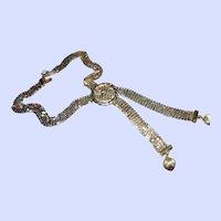Stylish Vintage Gold Tone Mesh Lariat Tassel Style Necklace