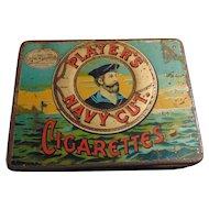 Vintage Advertising Tin Litho Box for Players Navy Cut Cigarettes Nottingham Castle Registered TM