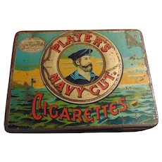 Vintage Advertising Tin Litho Box for Players Navy Cut Cigarettes Nottingham Castle Registered TM