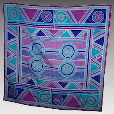 A Lovely Tribal  Geometric Style Pattern Silk Scarf Designer Signed Baldarinji
