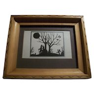A Charming Little Vintage Framed Silhouette Print Card By Milton S. Atkinson