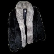 Wonderful Vintage Short Jacket Rabbit Fur Coat Made in Hong Kong Sz M