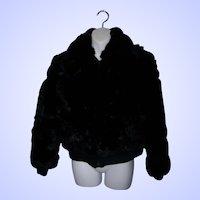 What A Fun Vintage  Black Rabbit Fur Bomber Style Ladies Short Jacket