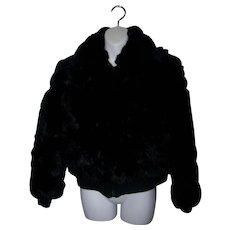What A Fun Vintage  Black Rabbit Fur Bomber Style Ladies Short Jacket