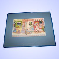 A Fun Shopping Bunny Rabbit Community Village  Shop Framed Print