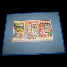 A Fun Shopping Bunny Rabbit Community Village  Shop Framed Print